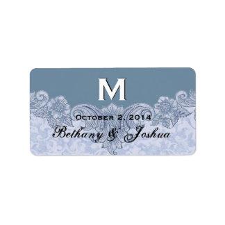 Powder Blue Vintage Wedding Names Date Monogram V8 Label