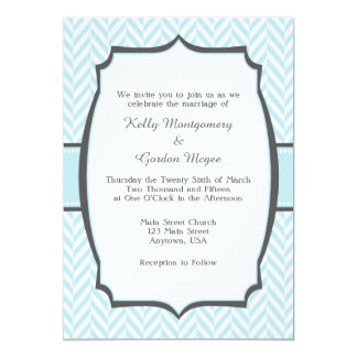 Powder Blue White Herringbone Wedding Invitation