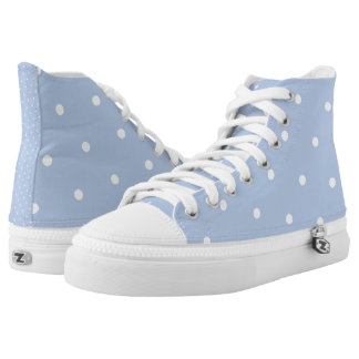 Powder Blue/White Polka Dot Zipz High Top Shoes