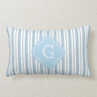 Powder Blue White Stripe #2 Lt Blue Label Monogram Lumbar Pillow