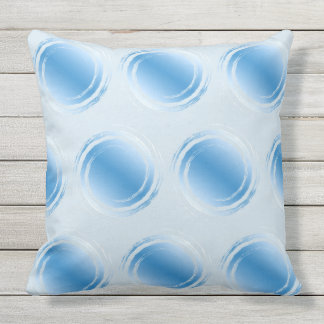 Powder Light Blue Polka Dot Swirling Circles Outdoor Pillow