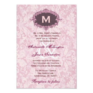 Powder Pink 3 Damask Vintage Monogram Wedding W251 Card