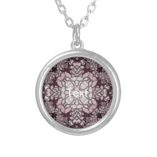 Powder Pink Black Abstract Round Pendant Necklace