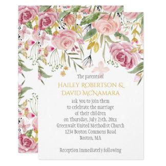 Powder Pink Blush Gold Greenery Floral Wedding Card