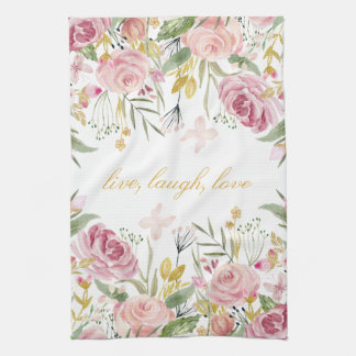 Powder Pink Gold Green Watercolor Roses Kitchen Towel