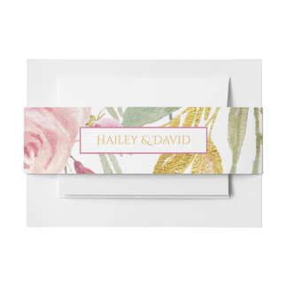 Powder Pink Gold Watercolor Roses Belly Bands Invitation Belly Band