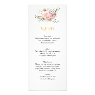 Powder Pink Gold Watercolor Roses Menu Cards Full Color Rack Card