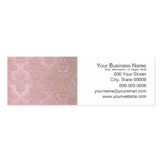 Powder Puff Pink Girly Damask Pack Of Skinny Business Cards