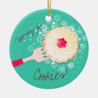 Powdered sugar jam cookie Christmas ornament