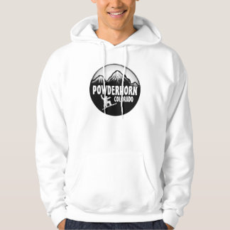 Powderhorn Colorado mens white snowboard hoodie