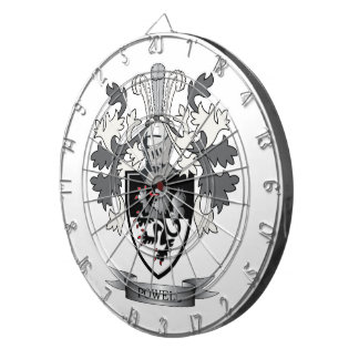 Powell Family Crest Coat of Arms Dartboard