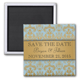 Power Blue & Gold Regal Damask Save the Date Square Magnet