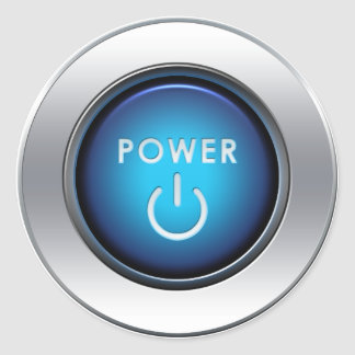 Power Button Round Sticker