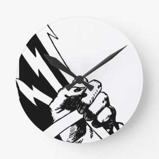 Power Fist Round Clock