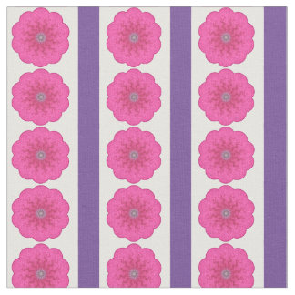 Power Flower Stripe bright pink purple small Fabric
