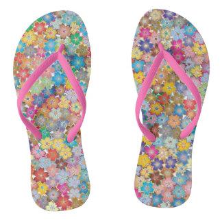 Power flower vibrant 60's pattern flip flops
