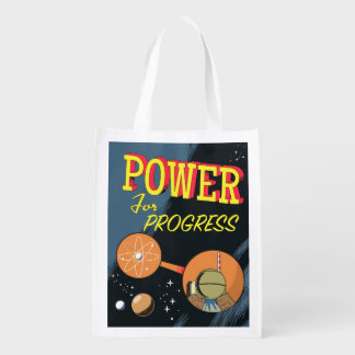 Power For Progress vintage Atomic poster Grocery Bags