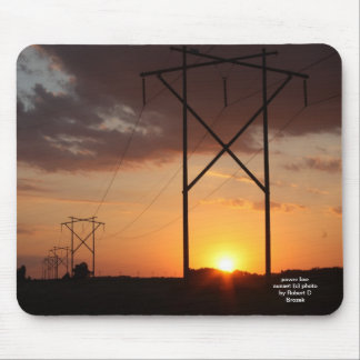 Power Line Sunset on a Mouse pad. Mouse Pad