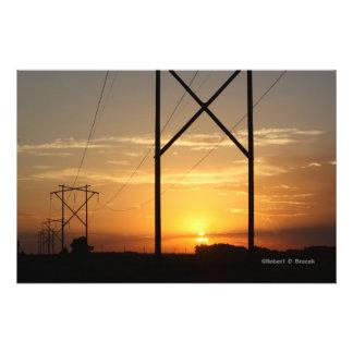 Power Line Sunset Photo Enlargement