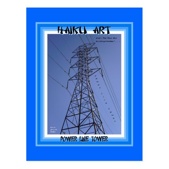 Power Line Tower Haiku Art Collectable Postcard