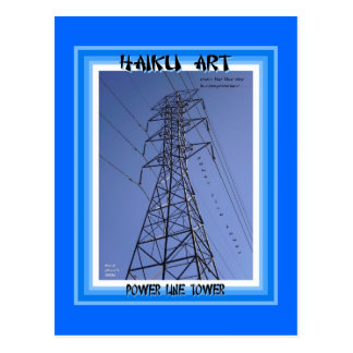 Power Line Tower Haiku Art Collectible Postcard