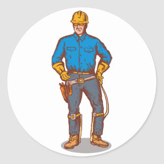power lineman electrician worker classic round sticker