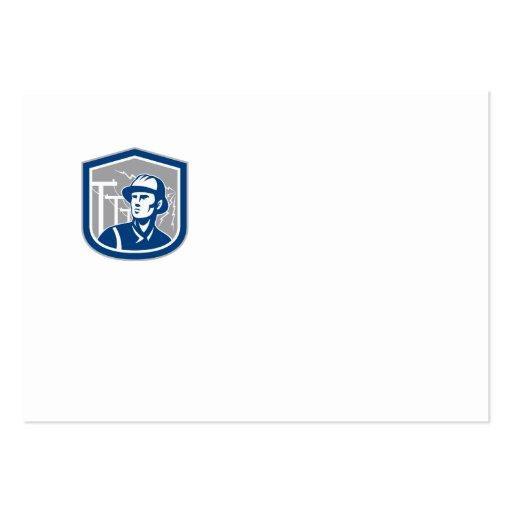 Power Lineman Repairman Shield Retro Business Card Template
