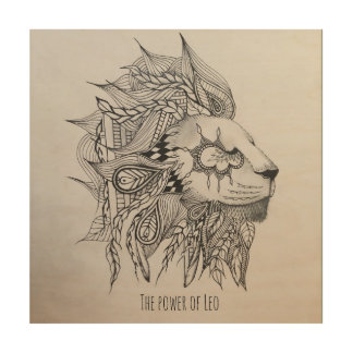 Power of Leo Wood Print