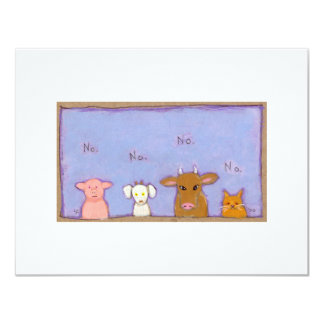 Power of No negative pig goat cow cat animal art Card