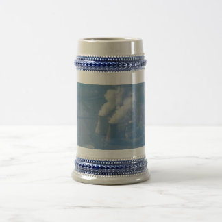 Power Plant Aerial View Gray /Blue 22 oz Stein