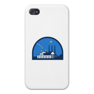Power Plant Alaska Flag Half Circle Retro iPhone 4 Case