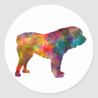 Power station Asian Shepherd Dog in watercolor Round Sticker
