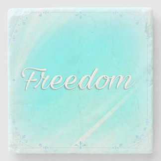 Power Word Freedom on Jade Colour Marble Coaster