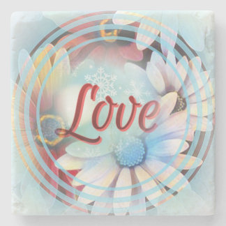 "Power Word ""Love"" on a Marble Coaster With Daisies"