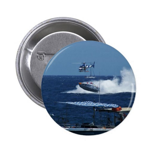 Powerboat and a helicopter pinback button