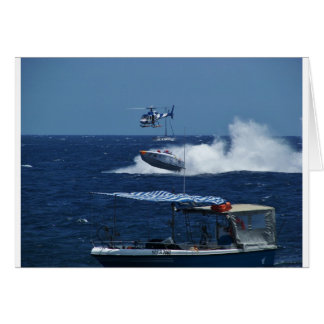 Powerboat and a helicopter greeting card