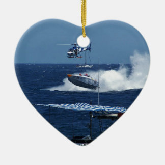 Powerboat and a helicopter ceramic heart ornament