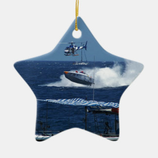 Powerboat and a helicopter ceramic star ornament