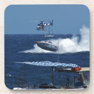 Powerboat and a helicopter beverage coasters