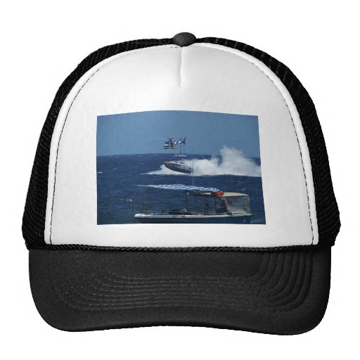Powerboat and a helicopter hats