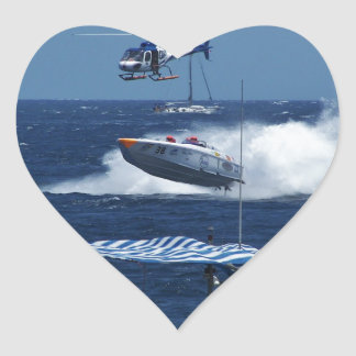 Powerboat and a helicopter heart sticker