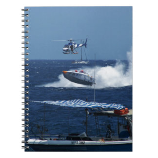 Powerboat and a helicopter notebooks