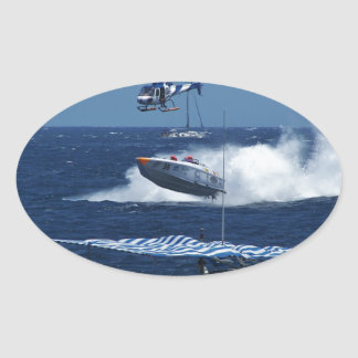Powerboat and a helicopter oval sticker