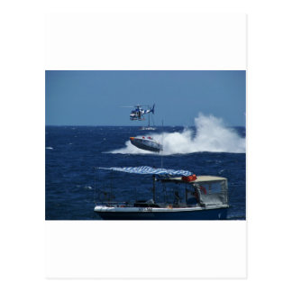 Powerboat and a helicopter postcard