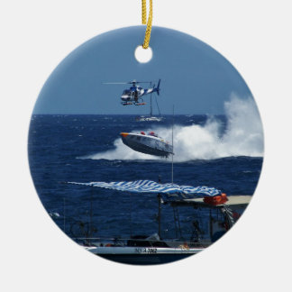 Powerboat and a helicopter round ceramic ornament