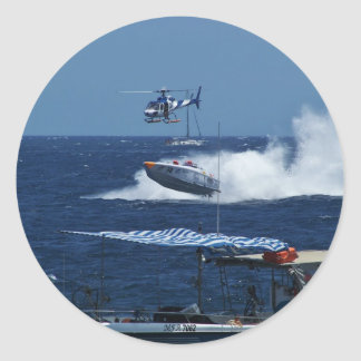 Powerboat and a helicopter round sticker