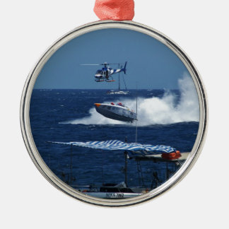 Powerboat and a helicopter Silver-Colored round ornament