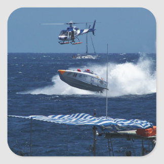 Powerboat and a helicopter square sticker