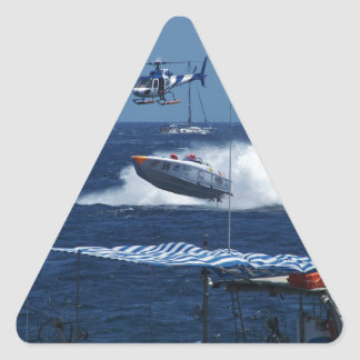 Powerboat and a helicopter triangle sticker