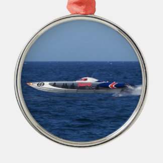 Powerboat Silver-Colored Round Ornament